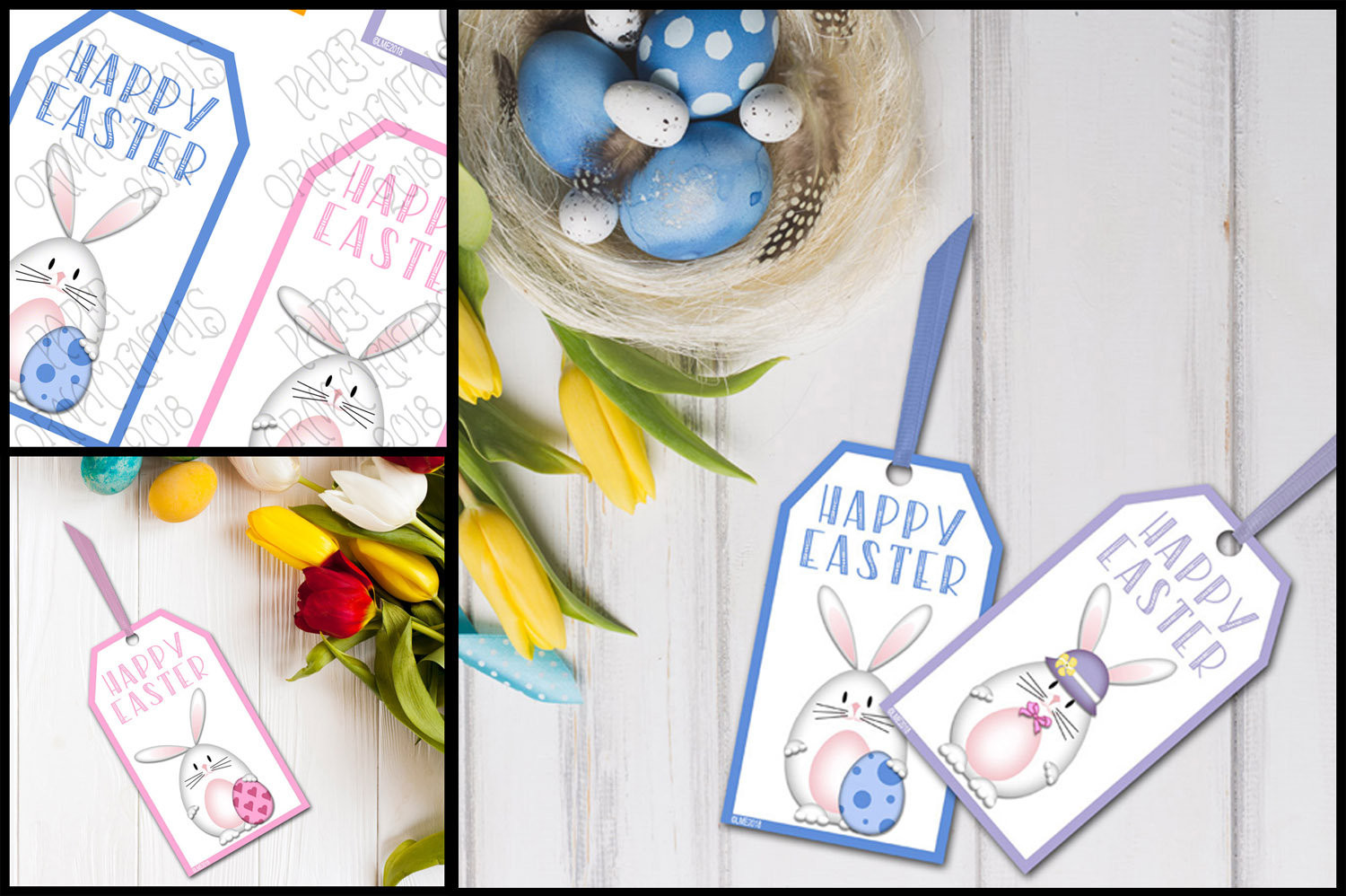 Printable Easter Gift Tags, White Bunnies example image 2
