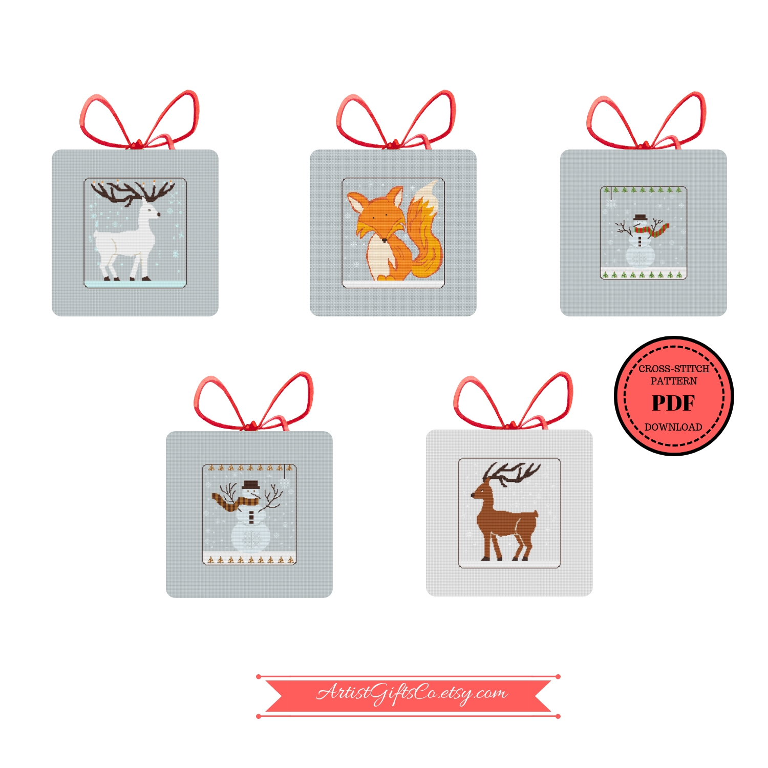 Set 5 Christmas Winter Animals, Counted Cross Stitch Pattern example image 3