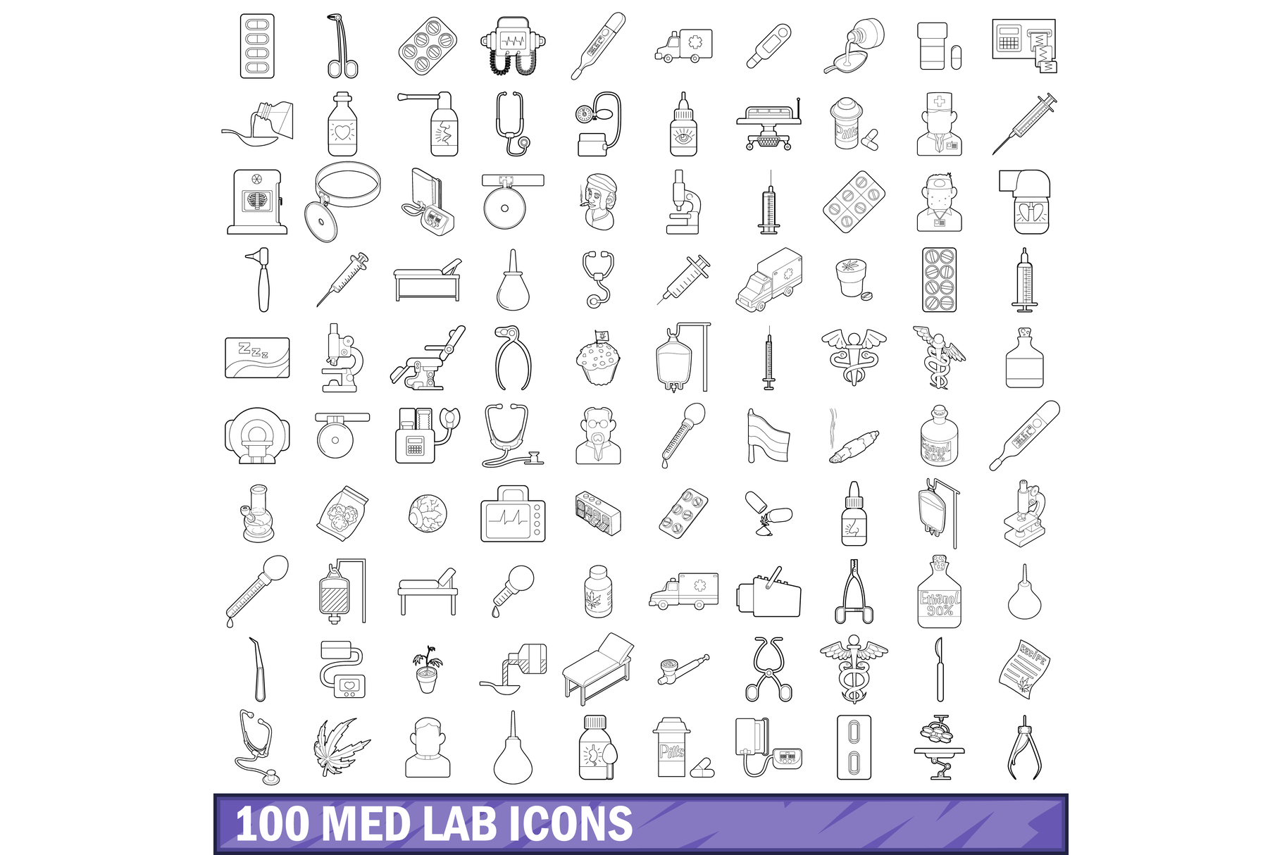 100 med lab icons set, outline style example image 1