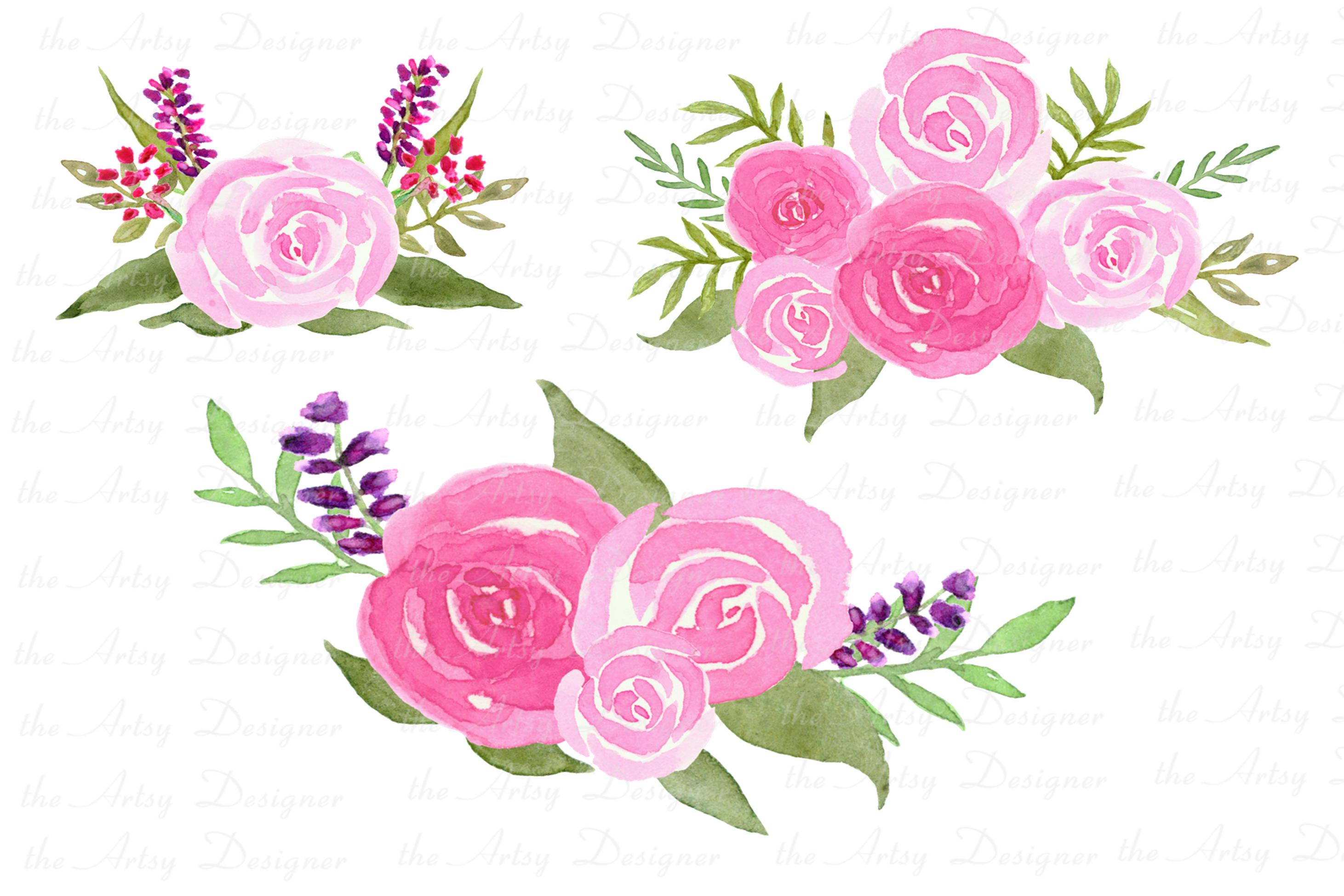 Watercolor Flowers Bundle Hand Painted Pink Purple Florals example image 3