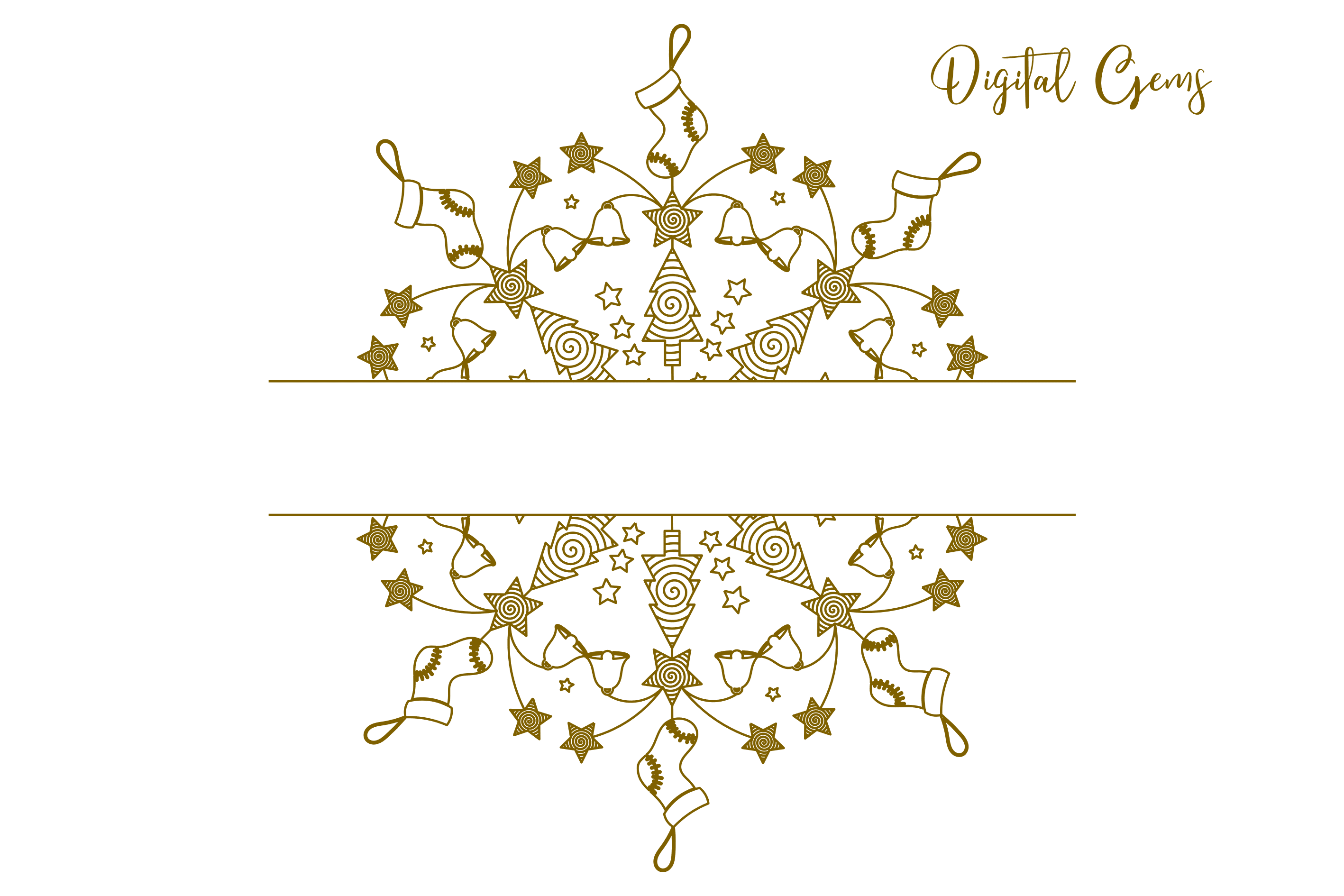 Christmas mandala, single line sketch file / foil quill file example image 6