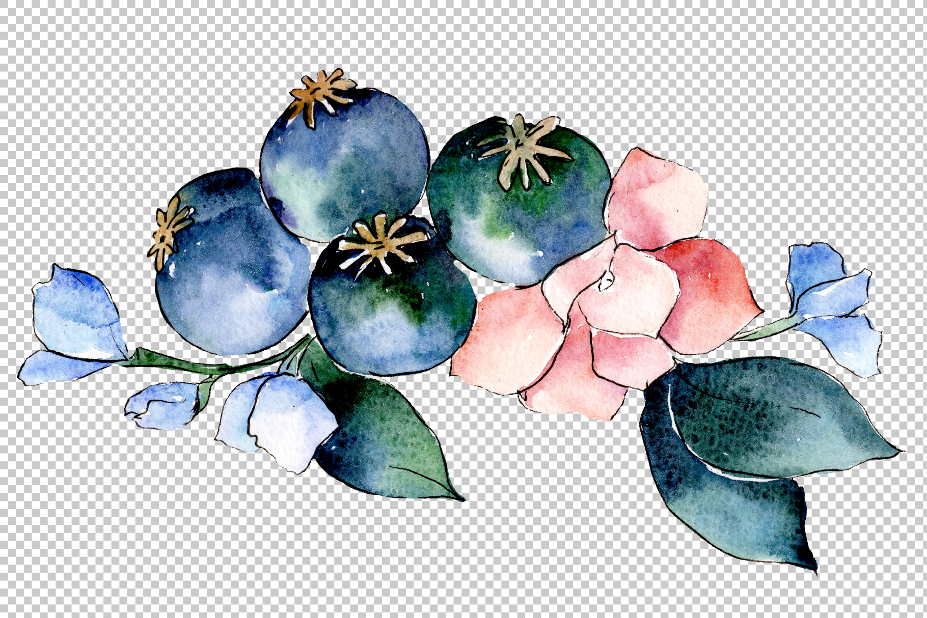 Bouquet of tropical colorful flower PNG watercolor example image 2