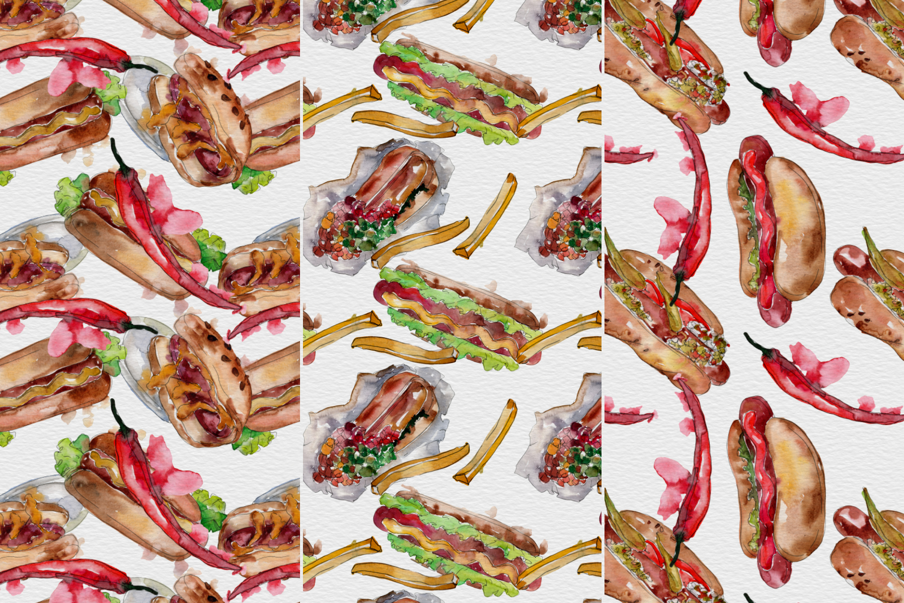 Fast food hot dog watercolor png example image 7