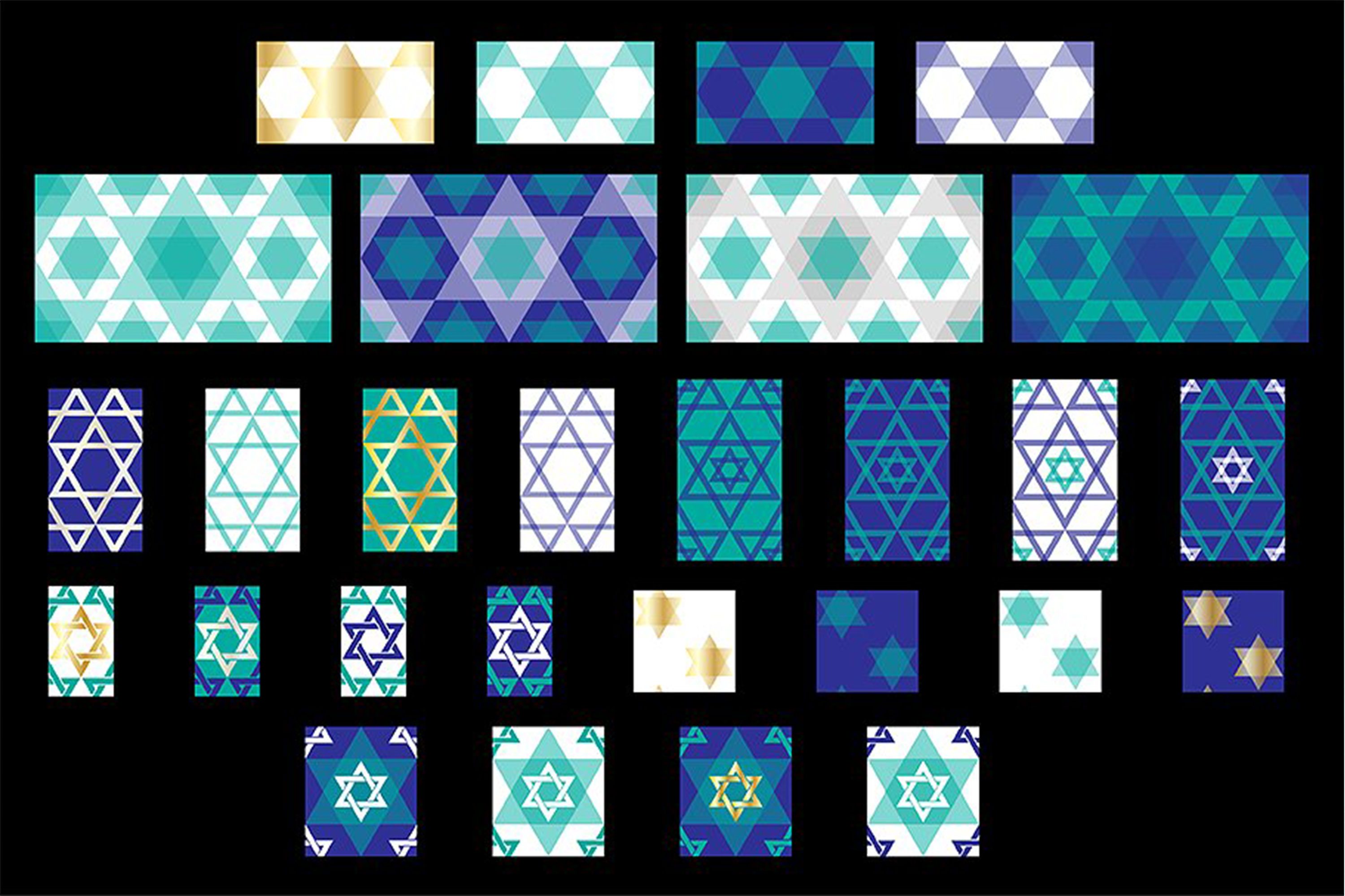 Star of David Seamless Patterns example image 2