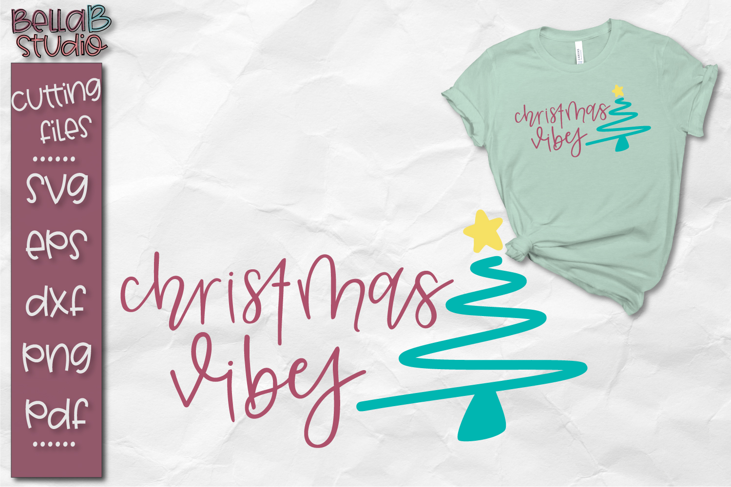 Christmas Vibes SVG, Christmas Cut file example image 1