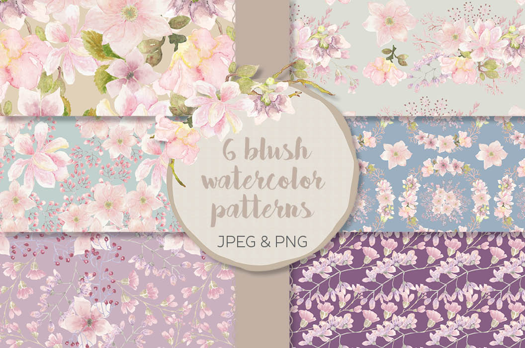 Watercolor patterns: blush Magnolias example image 1