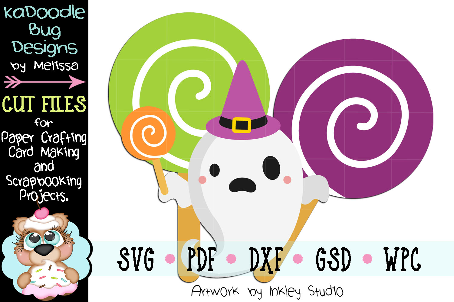 Halloween Lollipop Ghost Cut File - SVG PDF DXF GSD WPC example image 1