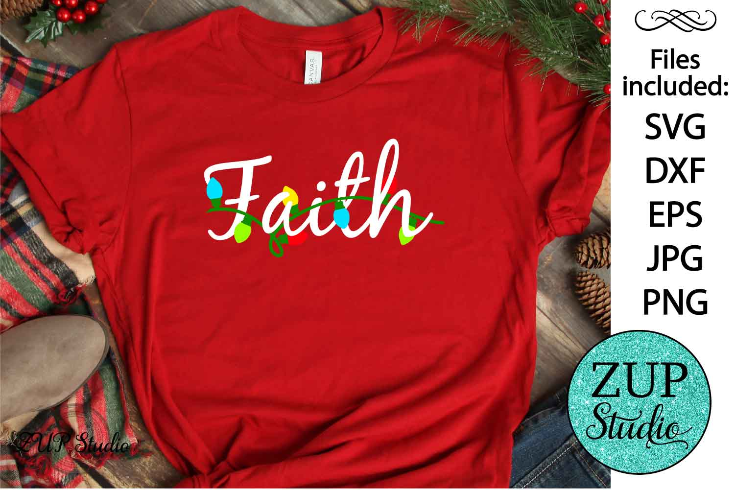 Christmas word faith SVG Design Cutting Files 371 example image 1