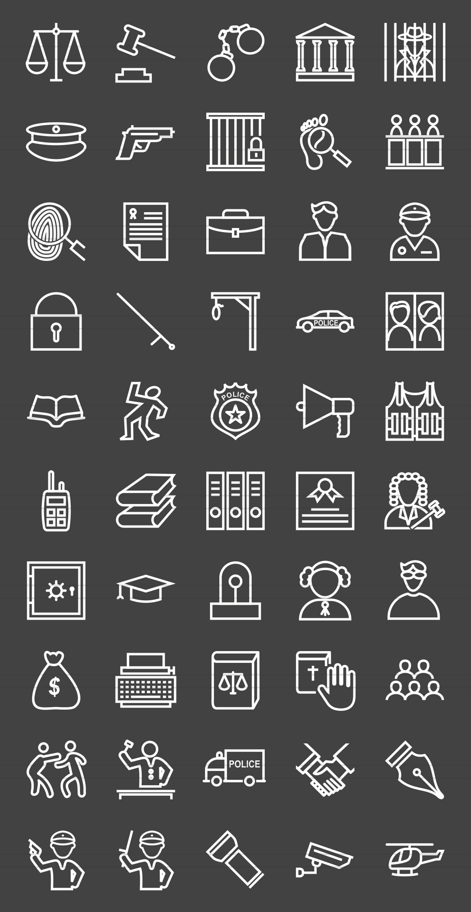 50 Law & Order Line Inverted Icons example image 2