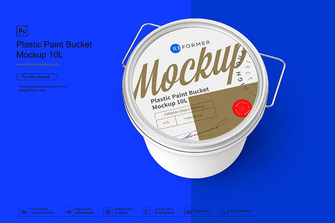 Plastic Paint Bucket Mockup example image 2