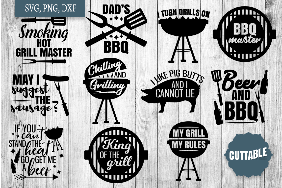 BBQ Quotes SVG bundle, barbecue summer cut files, BBQ SVGs example image 1