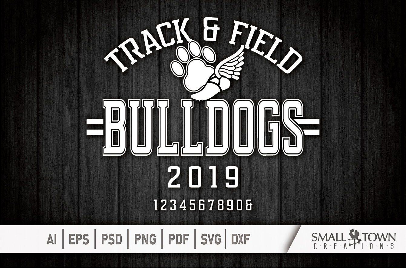 Bulldogs Track and Field, bulldog mascot, PRINT, CUT, DESIGN example image 5