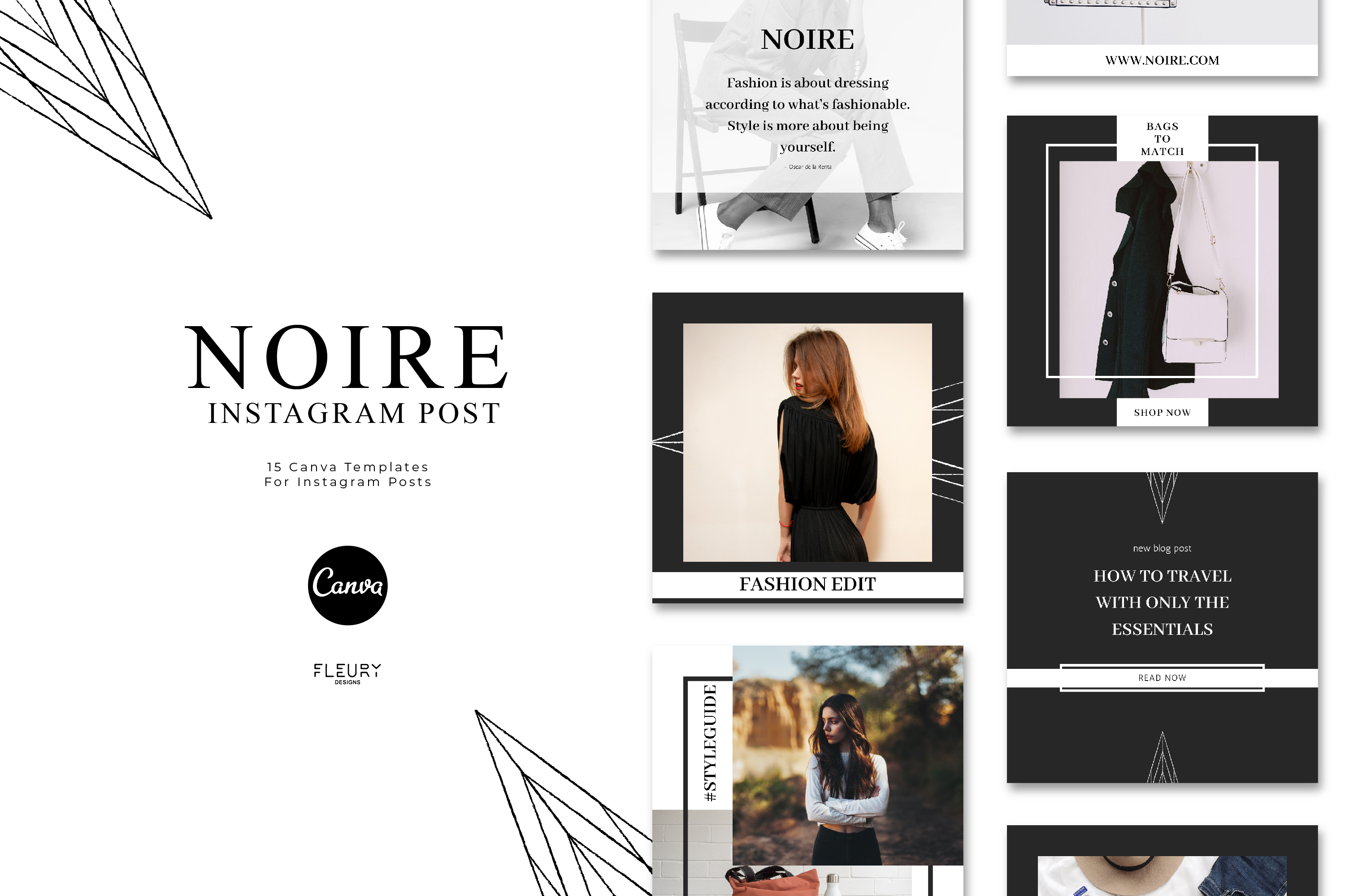 Instagram Posts Canva Template - Noire example image 1