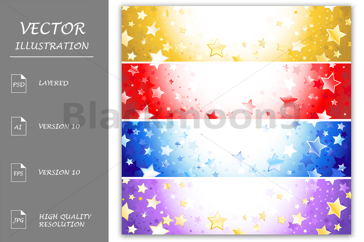 Four Banners with Sparkling Stars example image 1
