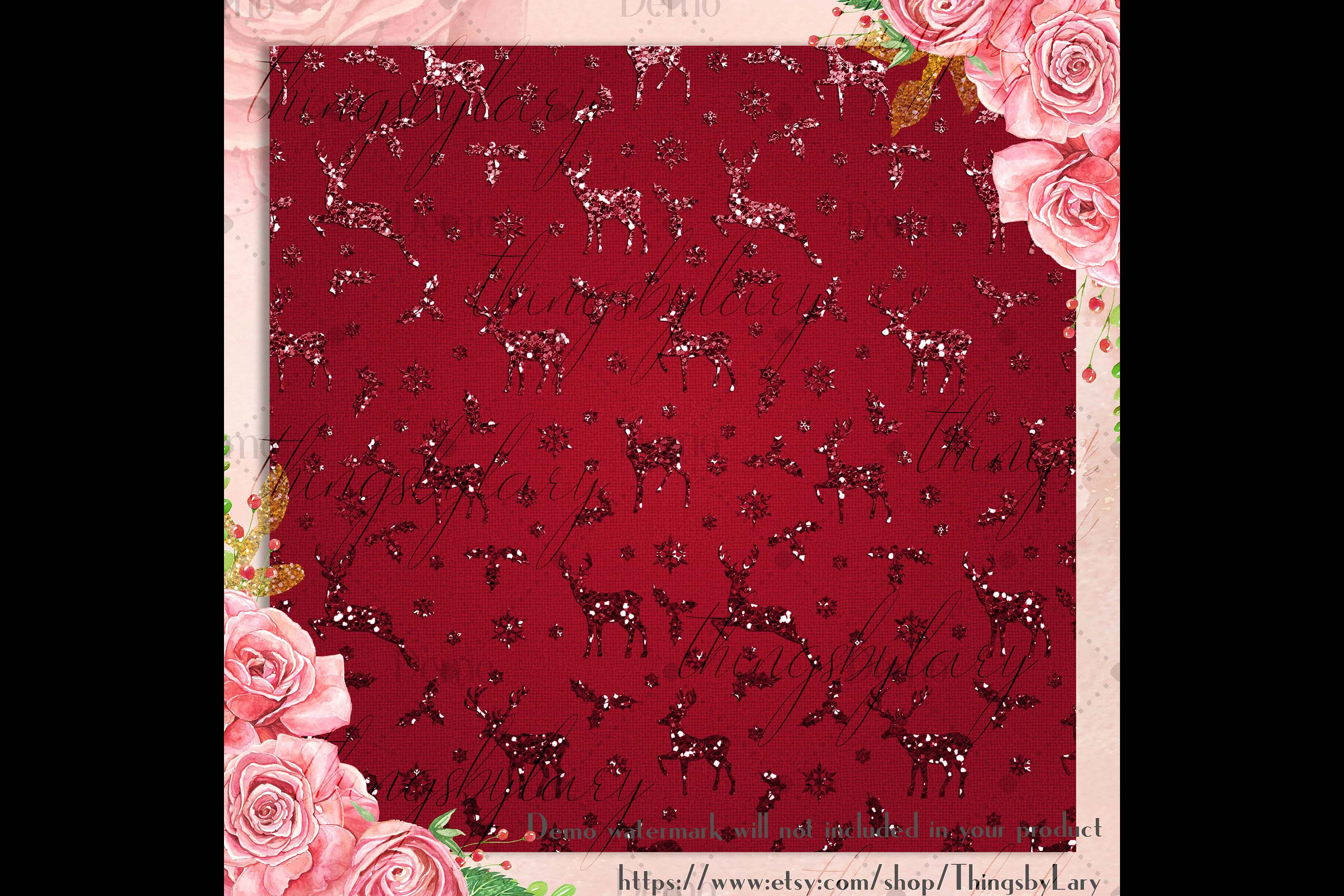 16 Red and Green Glitter Christmas Printable Digital Papers example image 3