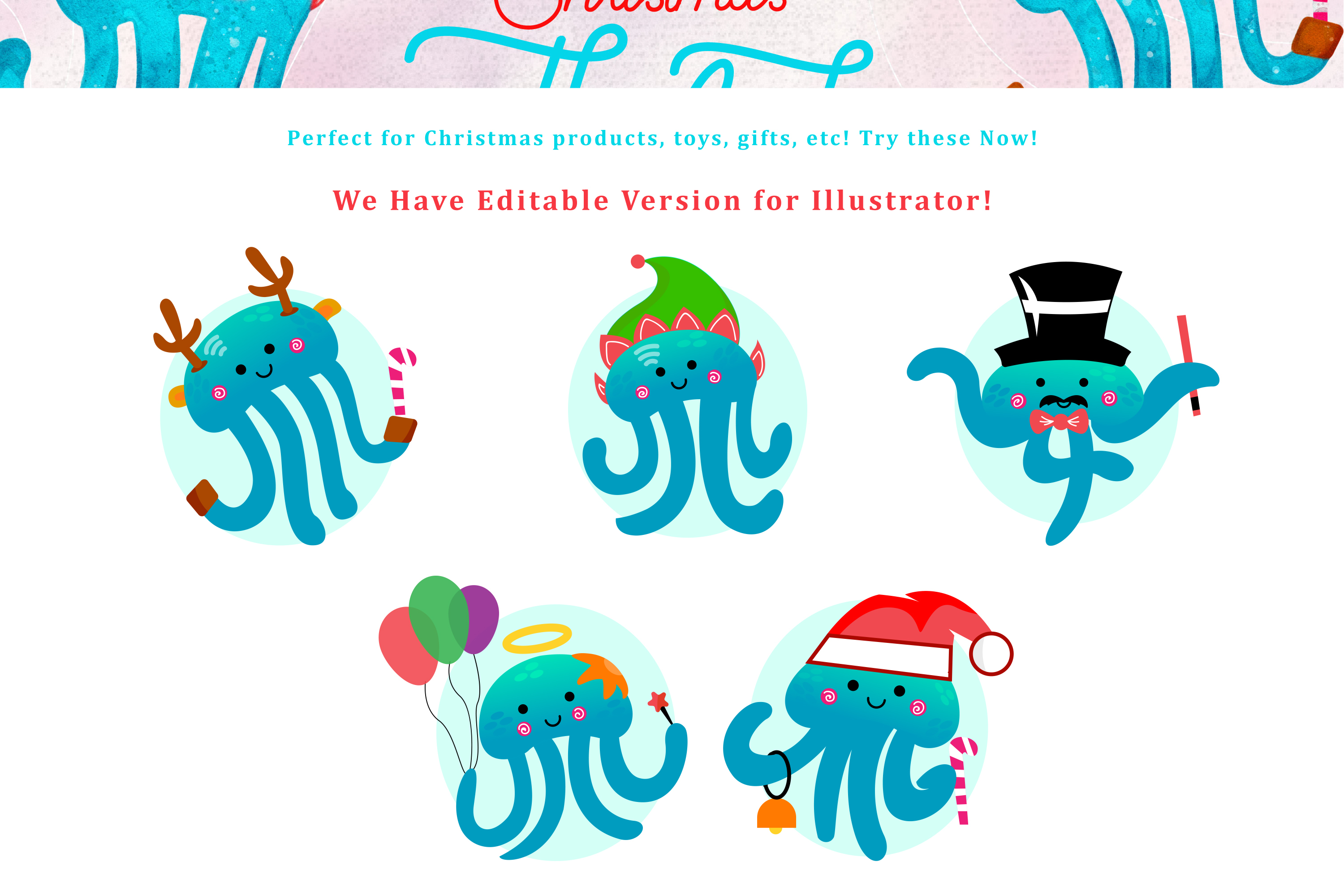 Christmas Jellyfish Watercolor Set and Vector Patterns example image 2