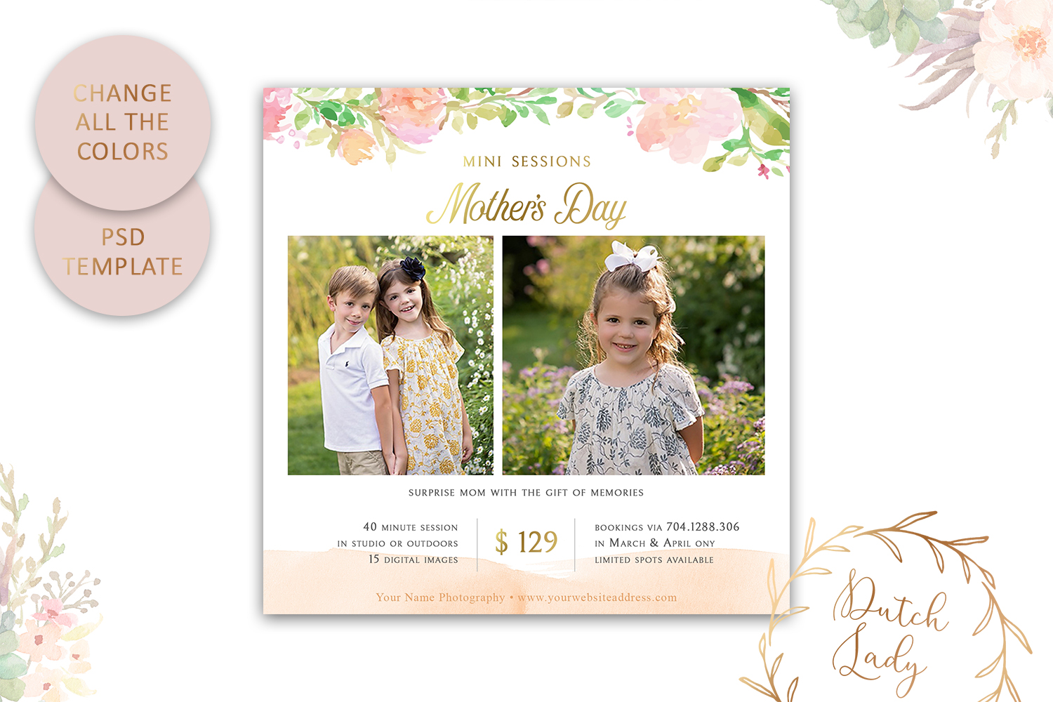 PSD Photo Mother's Day Mini Session Card Template - #41 example image 4
