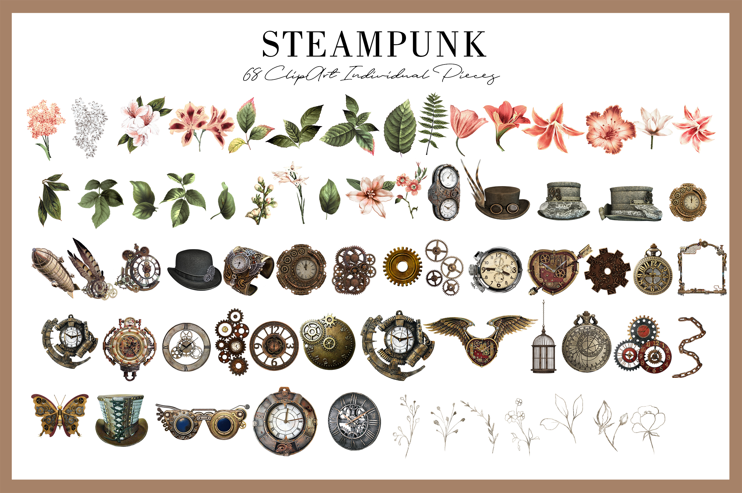 Steampunk |68 Elements in PNG example image 2