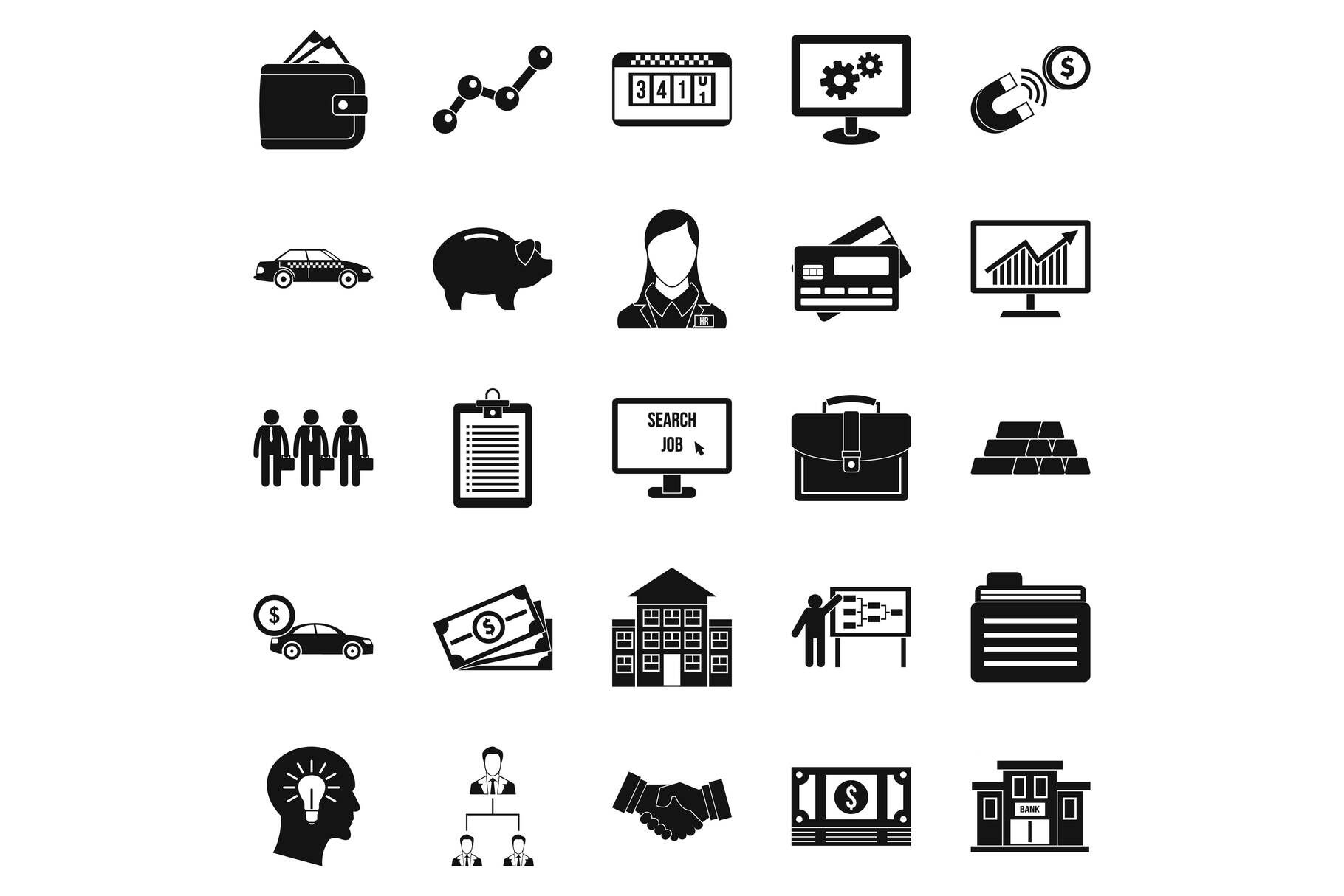Working week icons set, simple style example image 1