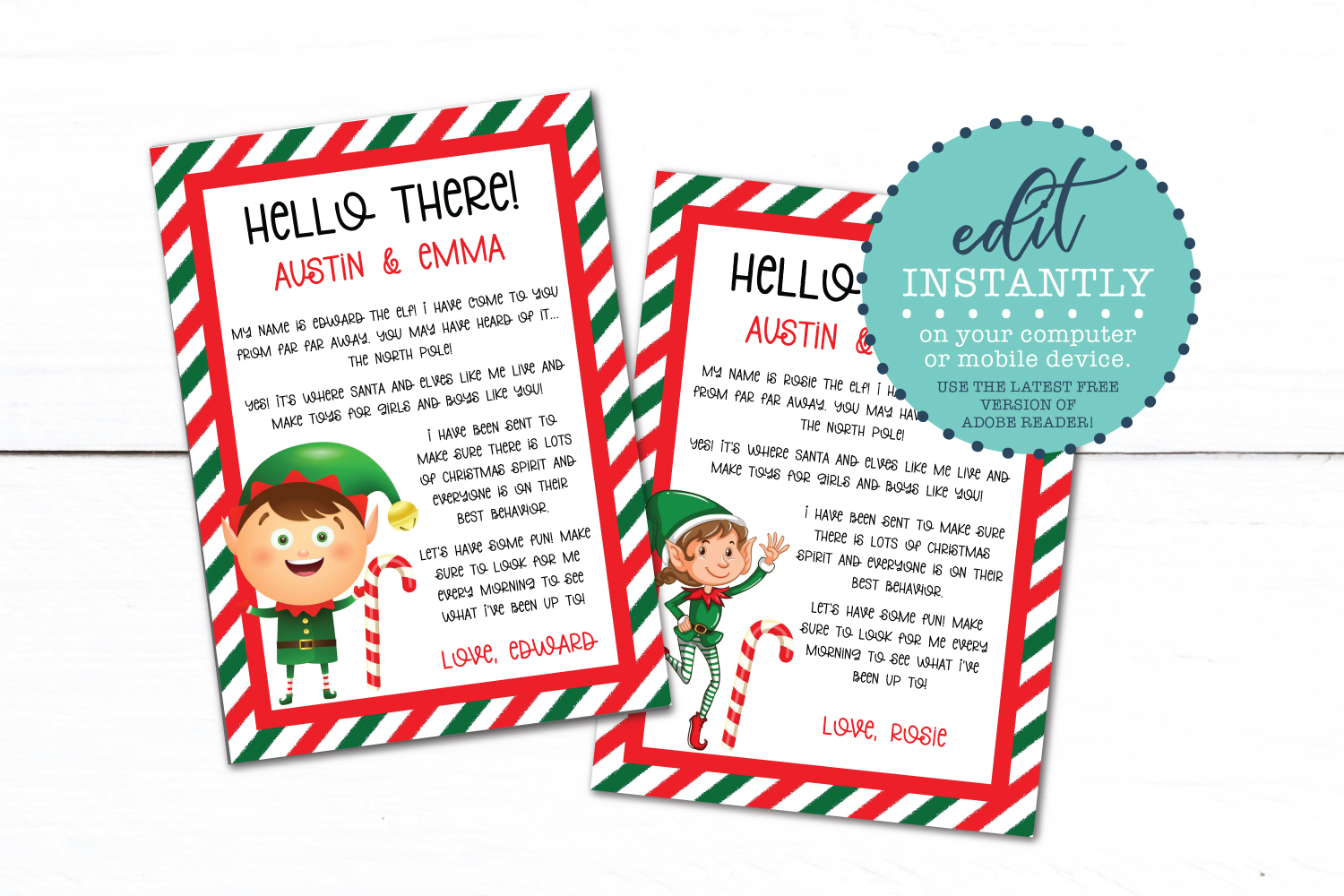 Elf Letter | Editable Christmas PDF Template example image 1