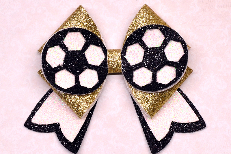 6 Sport Hair bow template SVG, Faux leather bow Cricut file example image 7