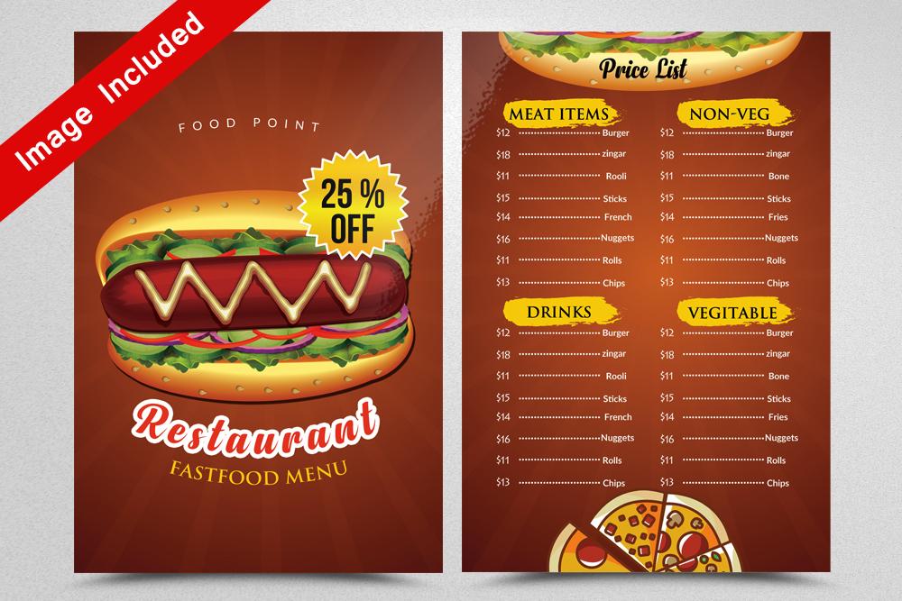 Restaurant Menu Flyer example image 1