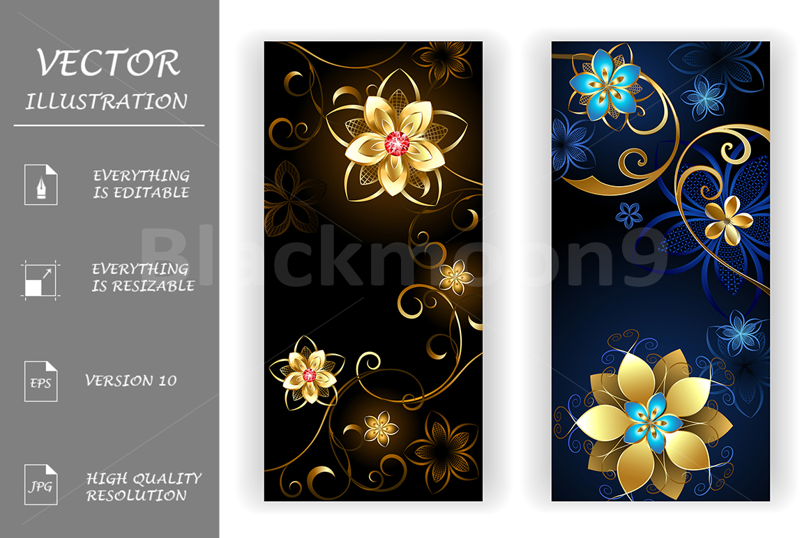 Two Banners with the Jewelry Flowers example image 1