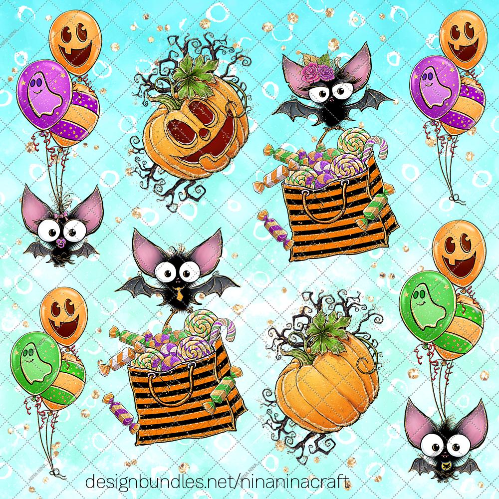 Cute Halloween Clipart, Bats Clip Art PNG Pack example image 3