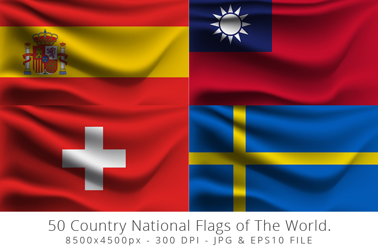 Realistic waving 50 Country National Flags of The World. example image 12