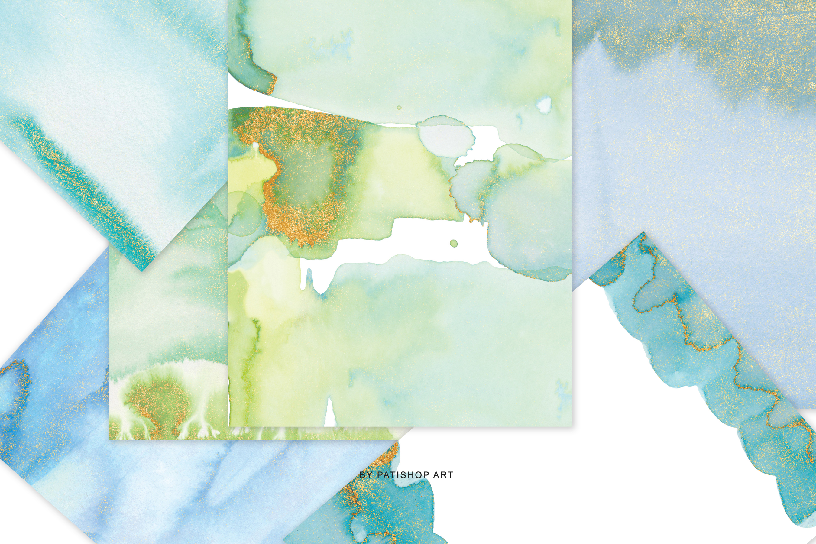Watercolor Glittered Green & Turquoise Background 5x7 example image 8