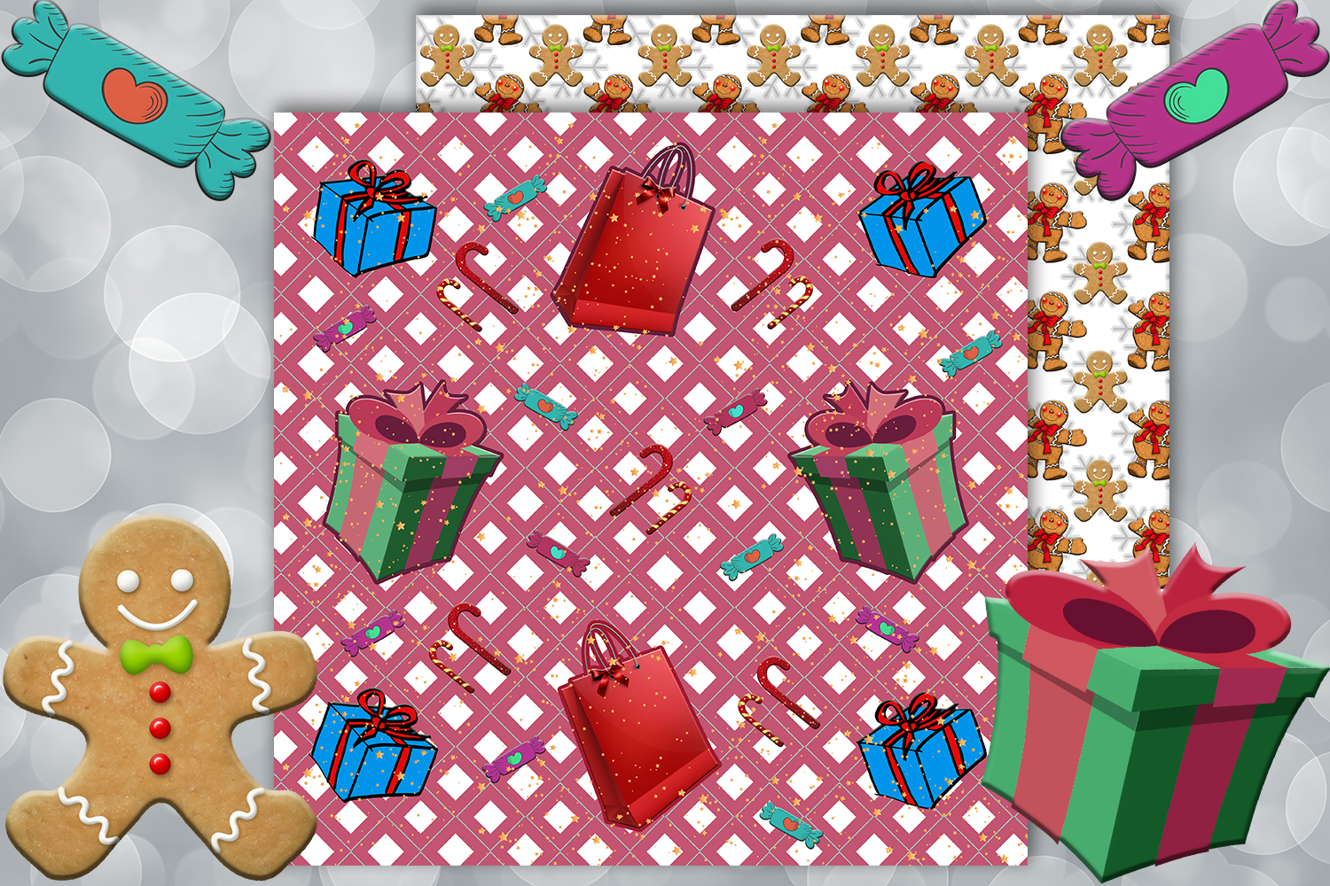 Christmas papers, jingle all the way, Scrapbook,BLACK FRIDAY example image 9