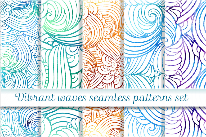 Vibrant waves seamless patterns set example image 1