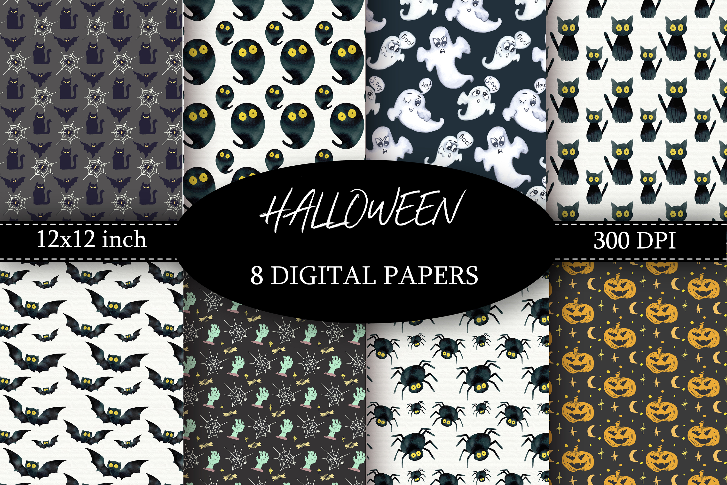Halloween Digital Paper Textures Black and White example image 1