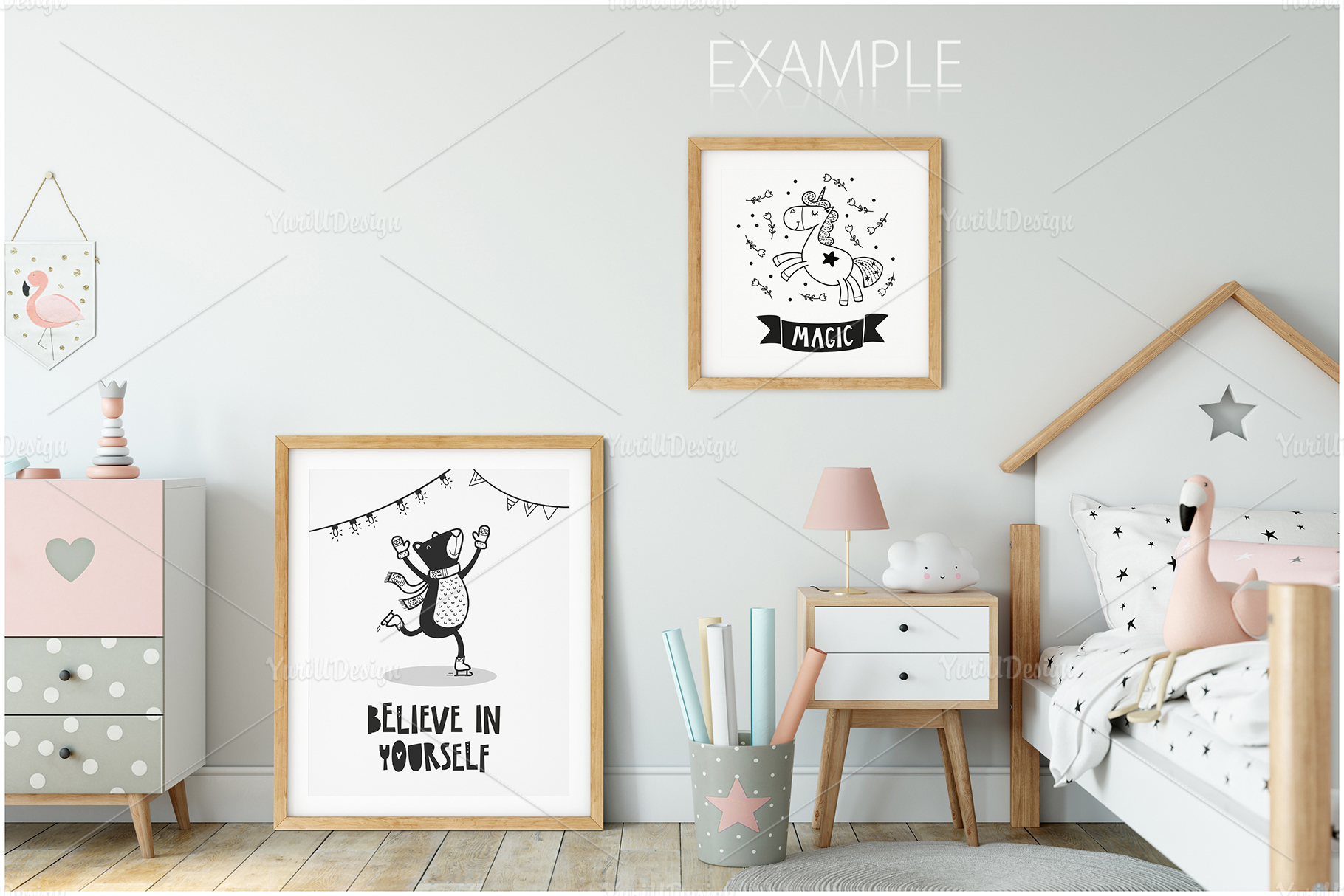 Kids Frames & Wall Mockup Bundle - 5 example image 19