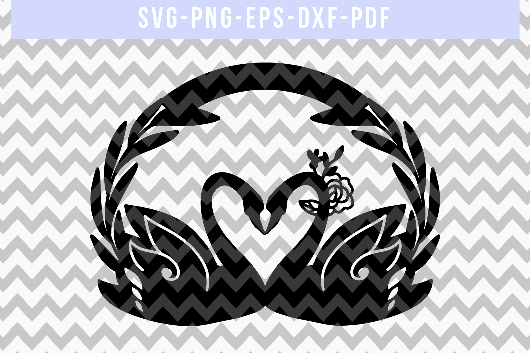 Customizable Wedding Swan Papercut Template, Lover SVG, DXF example image 4