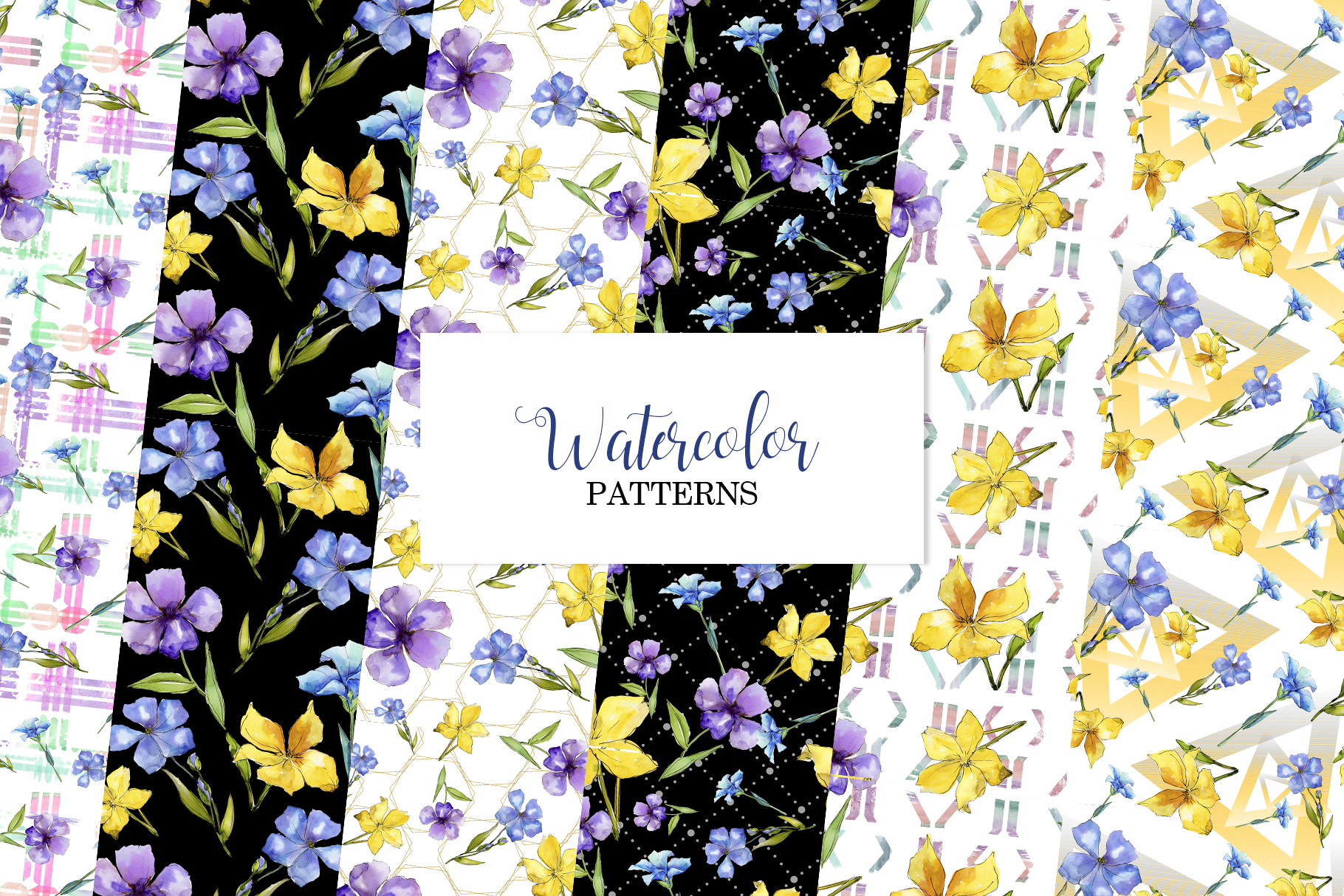 Flax Blue and yellow fowers Watercolor png example image 6
