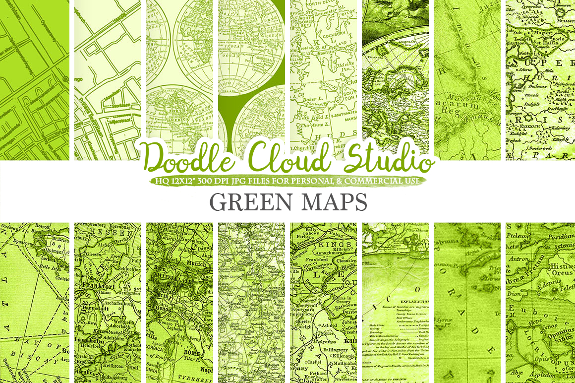 Green Vintage Maps digital paper, Old World Map, City Map, Nautical Maps, geographic map textures Instant Download Personal & Commercial Use example image 1