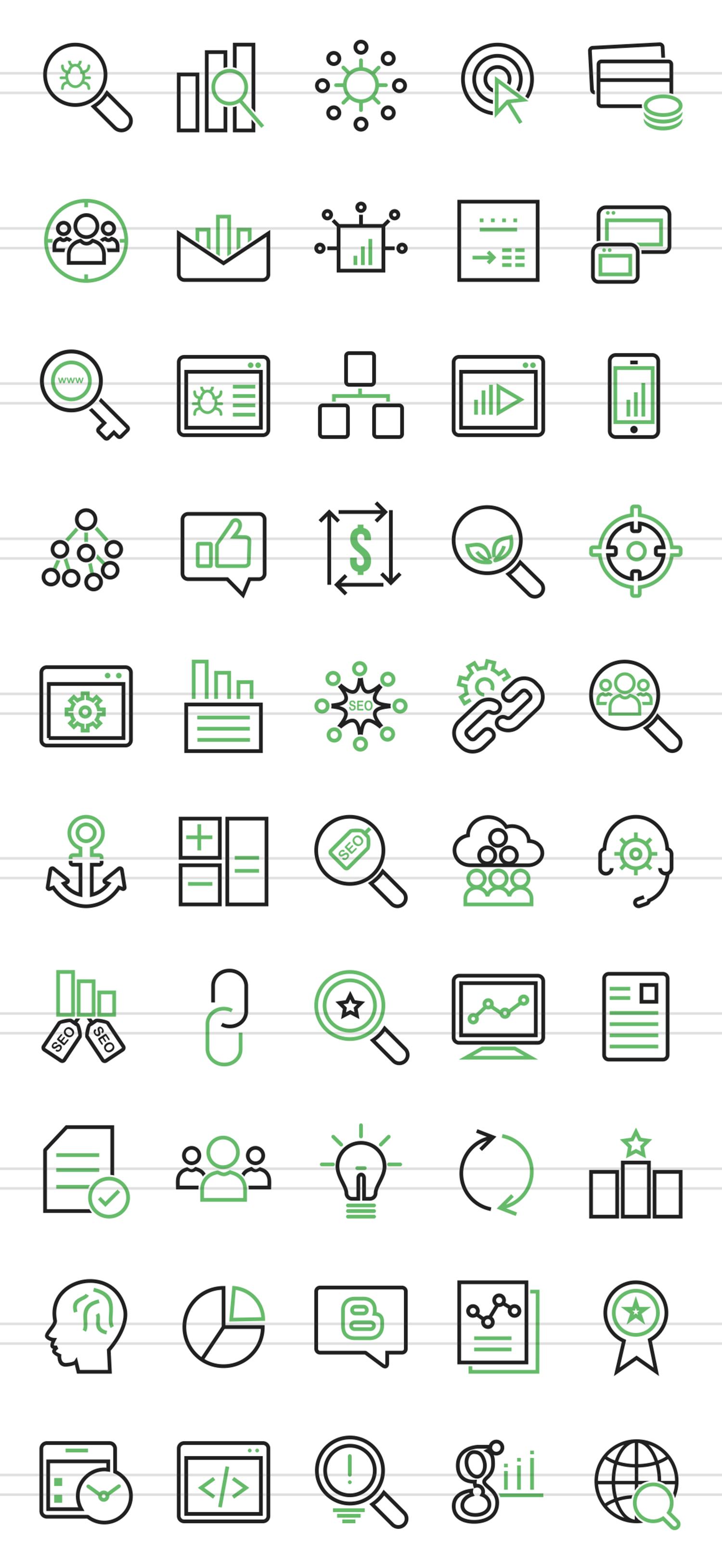 50 SEO Line Green & Black Icons example image 2