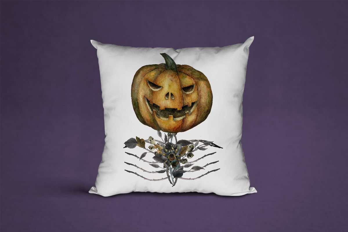 Jack o Lanter Halloween clipart, evil vintage gothic pumpkin example image 10