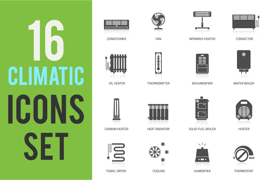16 Climatic Heating Icons Set example image 5