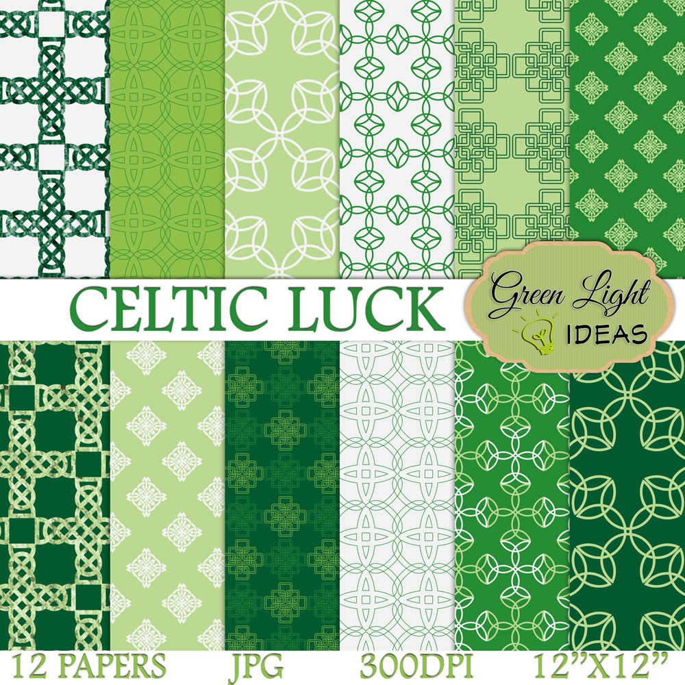 Celtic Digital Papers, St Patrick's Day Backgrounds, Irish Papers example image 1