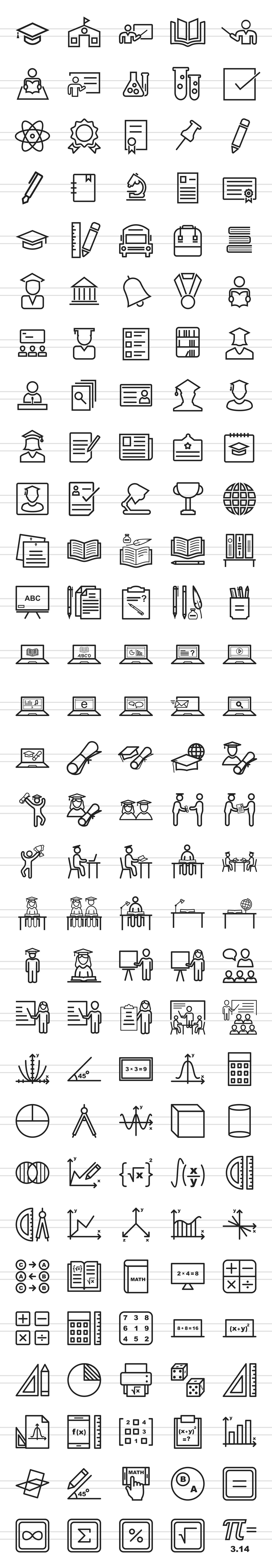 150 Academics Line Icons example image 2