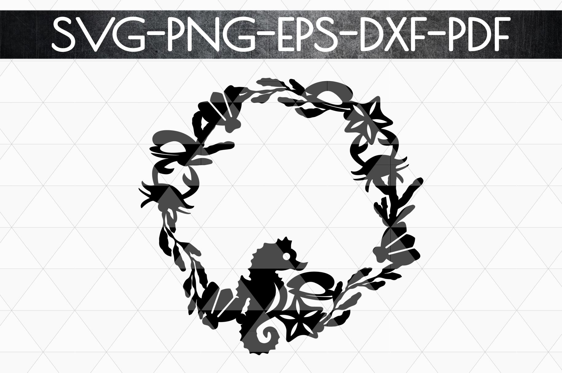 Summer Wreath Papercut Template, Beach House Decor SVG, DXF example image 4
