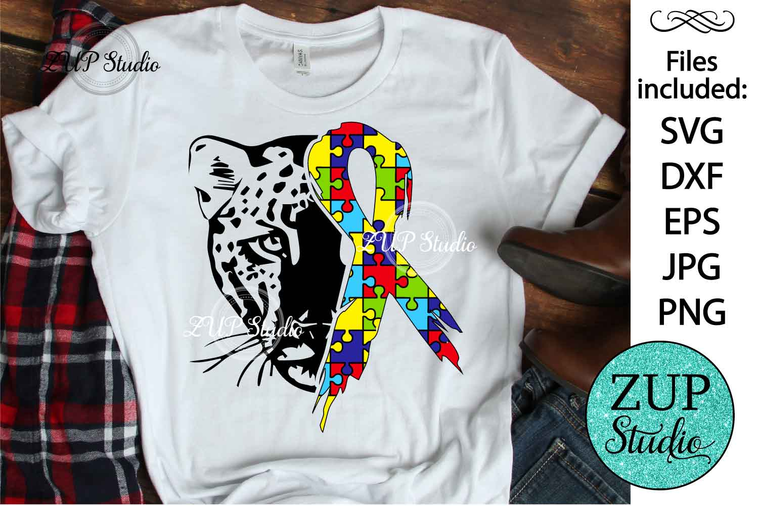 Leopard with Autism Ribbon svg design 465 example image 1