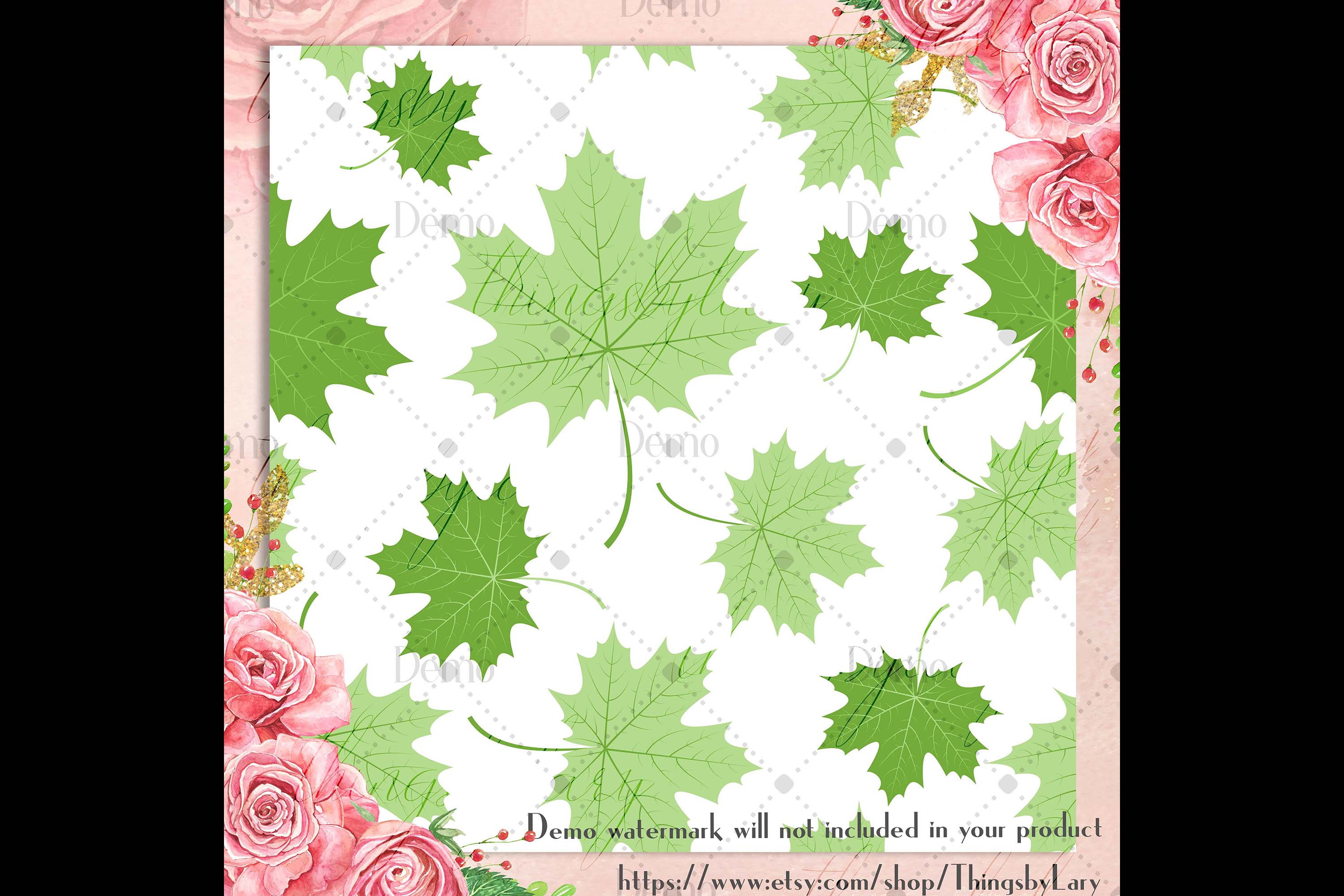 100 Seamless Color Autumn Leaves Pattern Digital Papers example image 3
