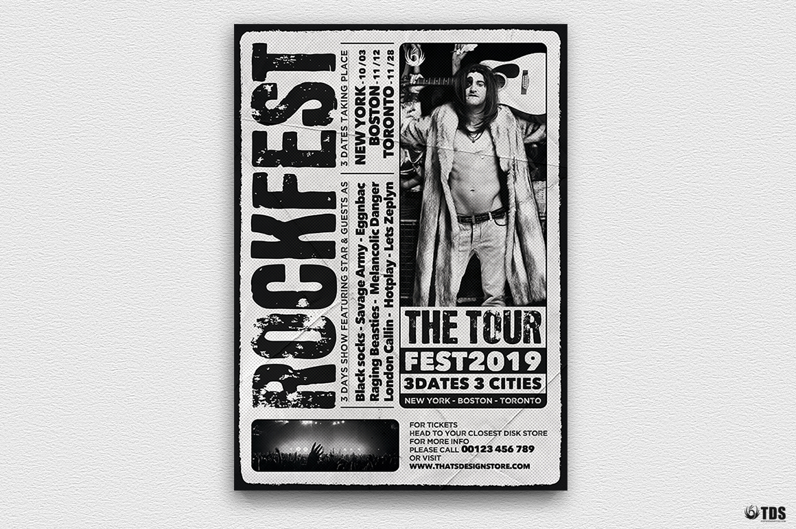 Distressed Rockfest Flyer Template example image 4