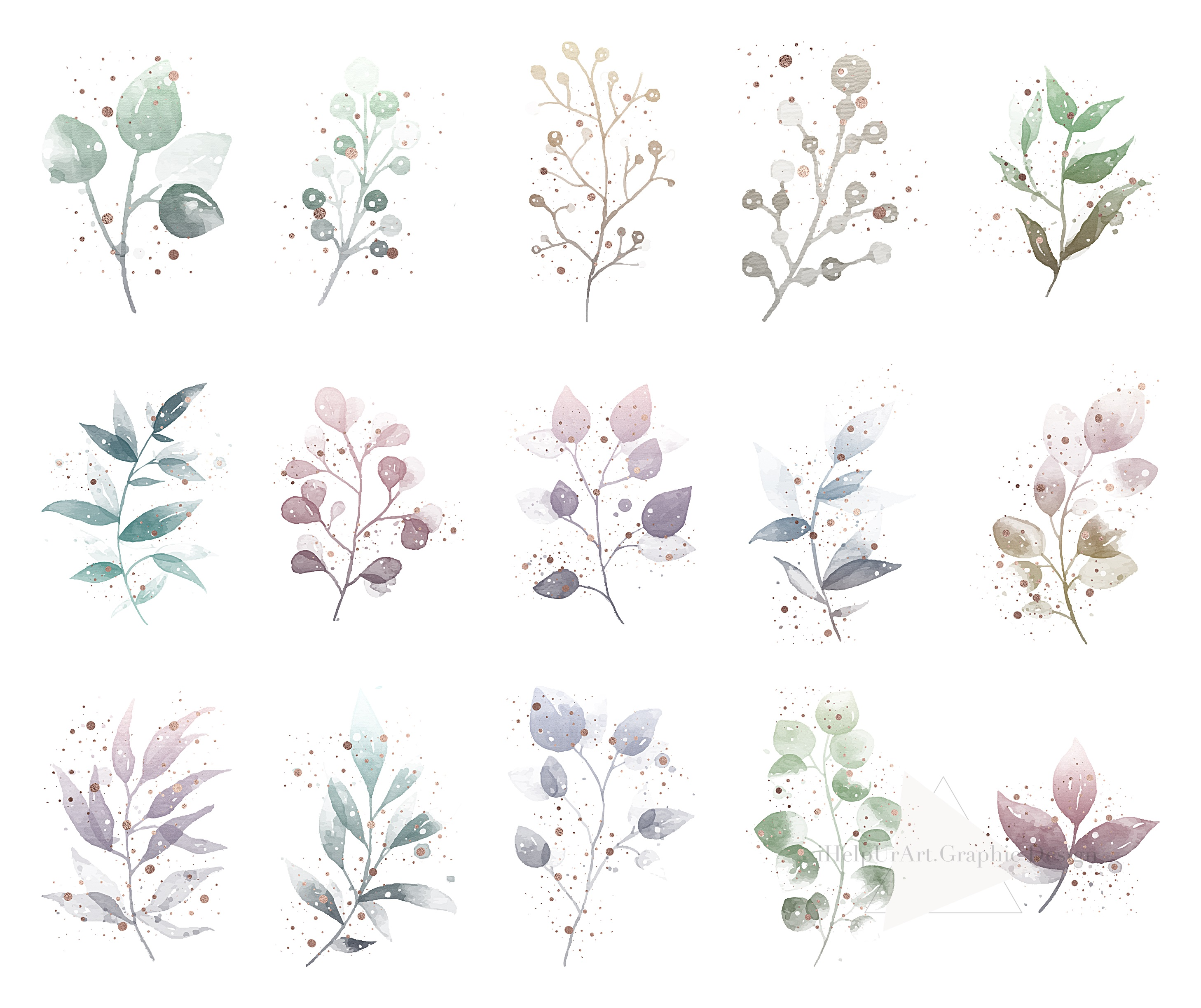 Watercolor and Rose Gold Floral Clipart example image 4