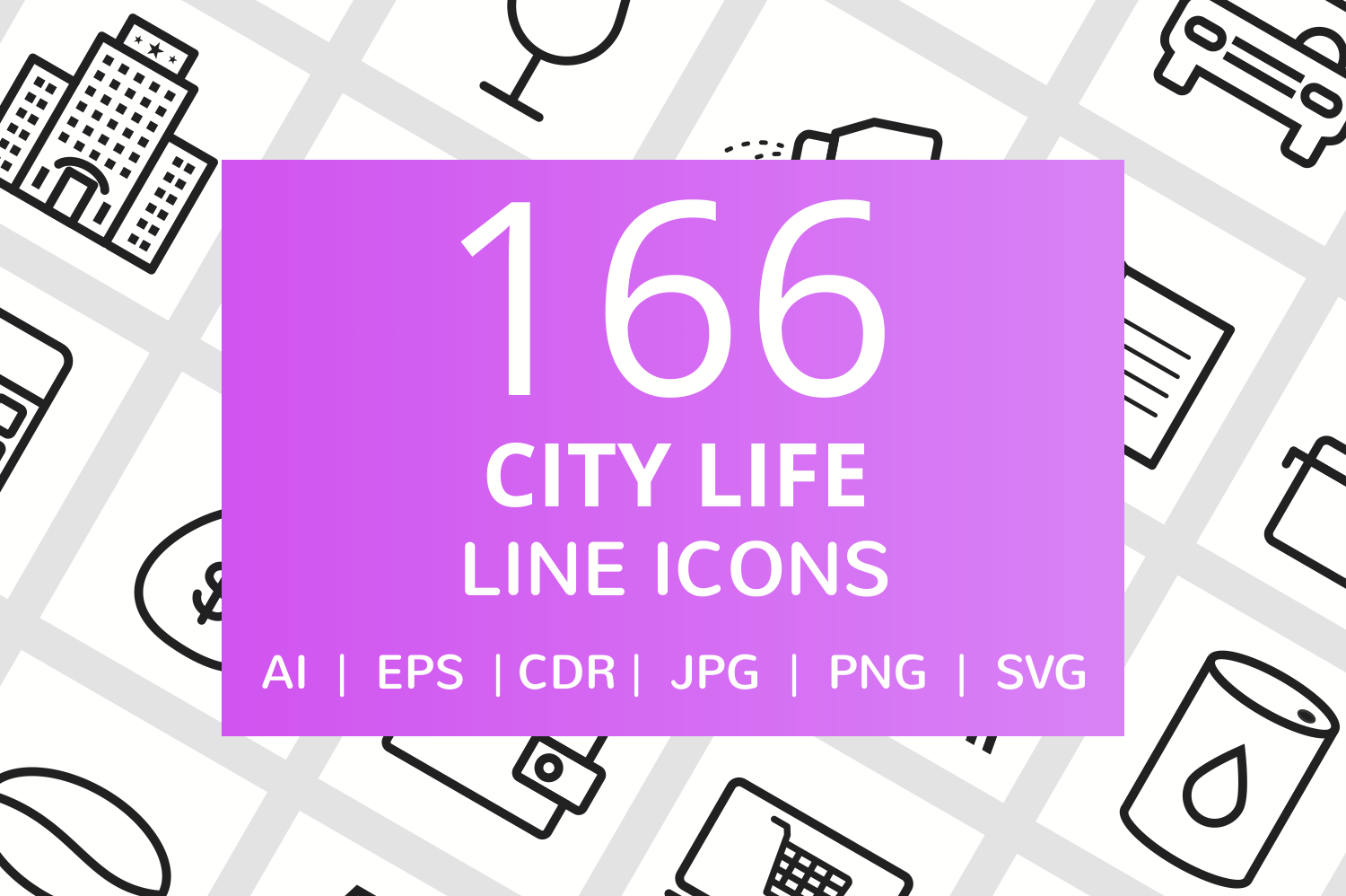 166 City Life Line Icons example image 1