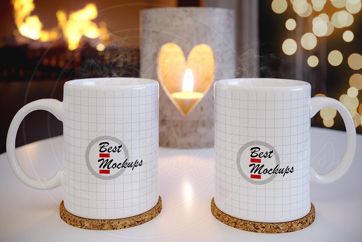 Couple empty tea CUP mockup template example image 2