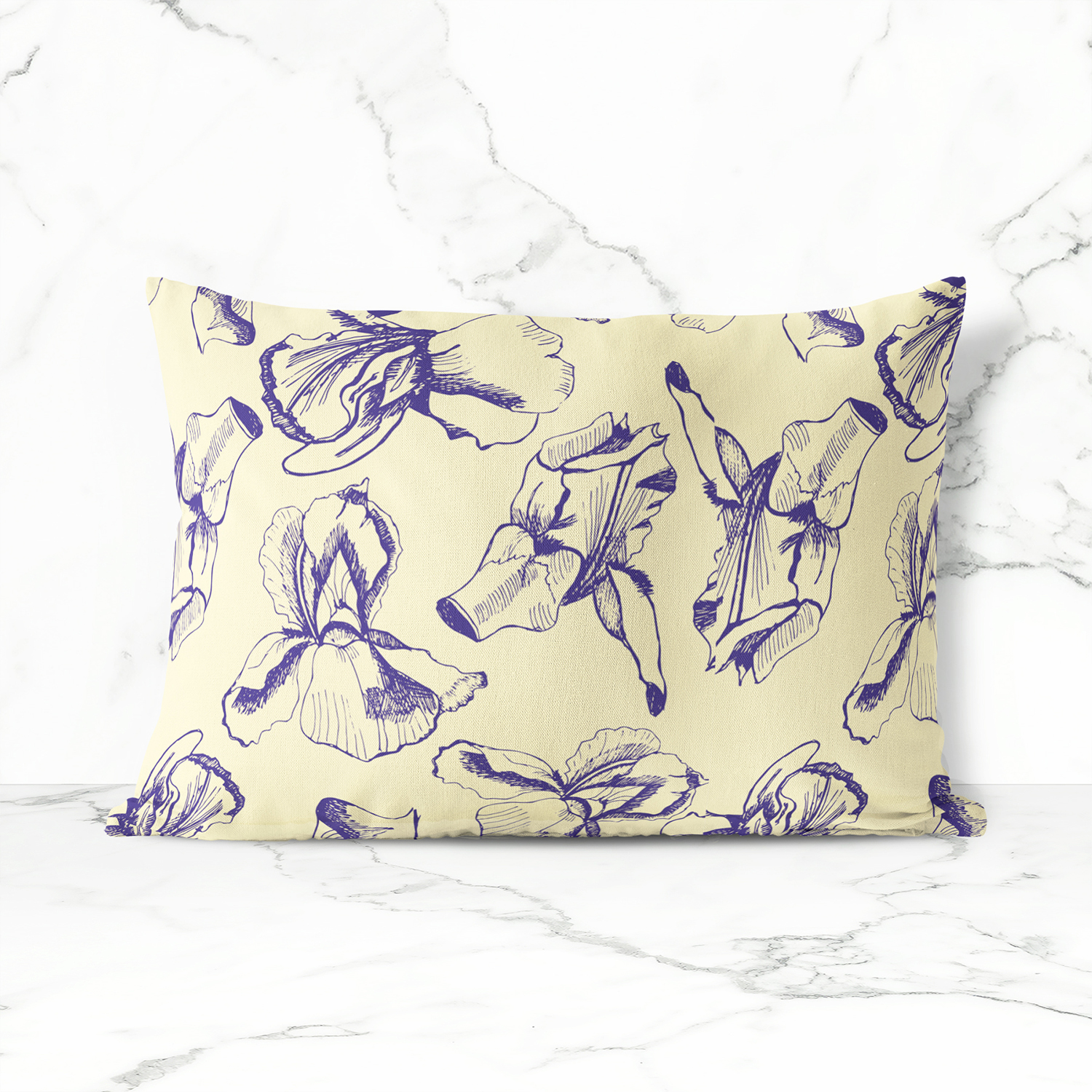 Collection with sketches of iris flowers and seamless patterns.  example image 7